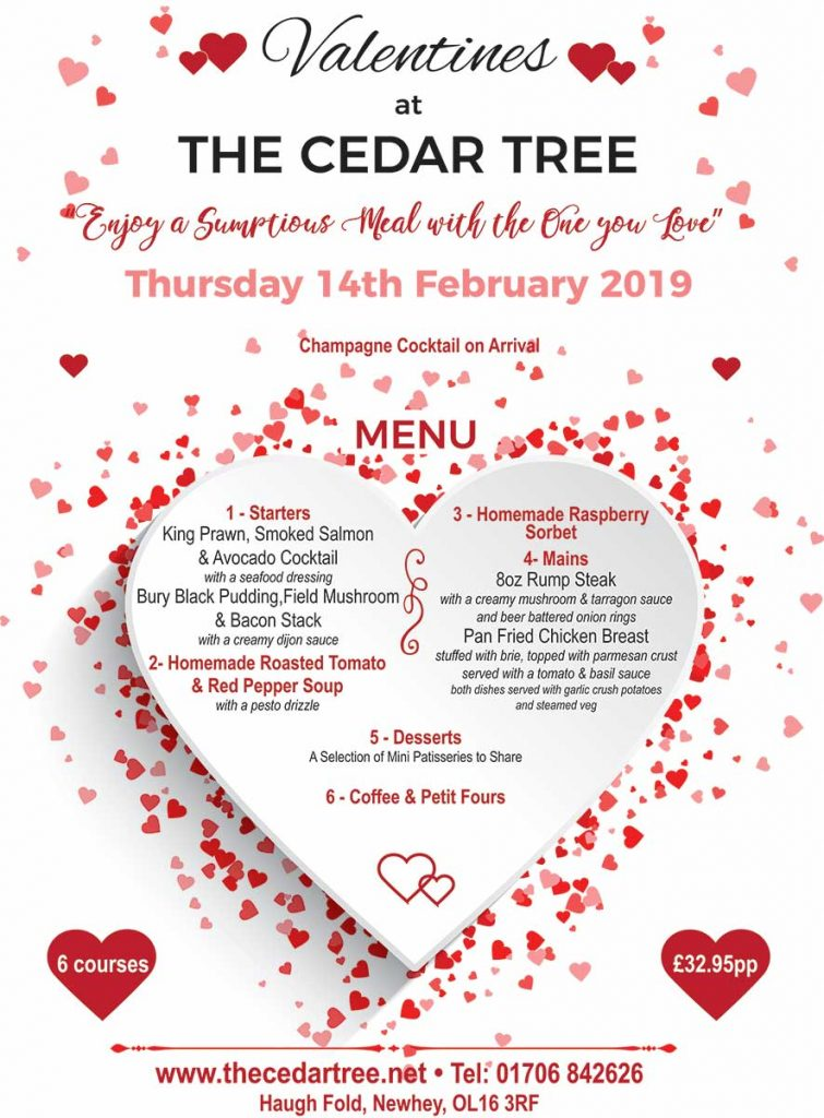 Valentines Poster with special offer 6 courses for £32.95pp